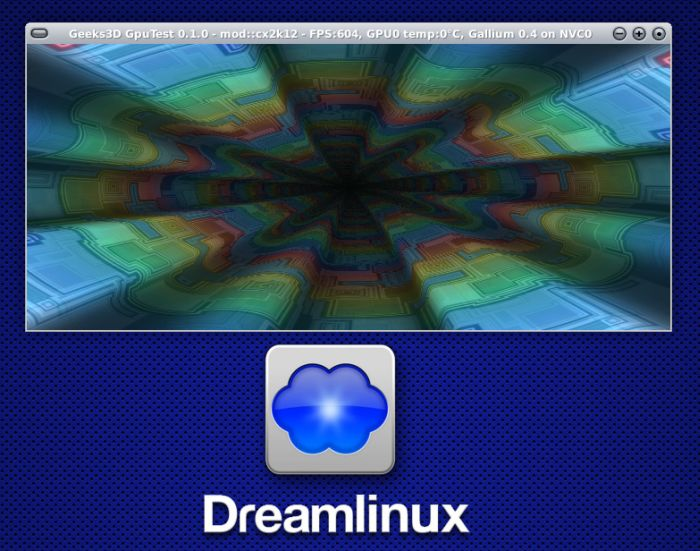 Dreamlinux, OpenGL test, GeForce GTX 480, Nouveau NVC0 renderer