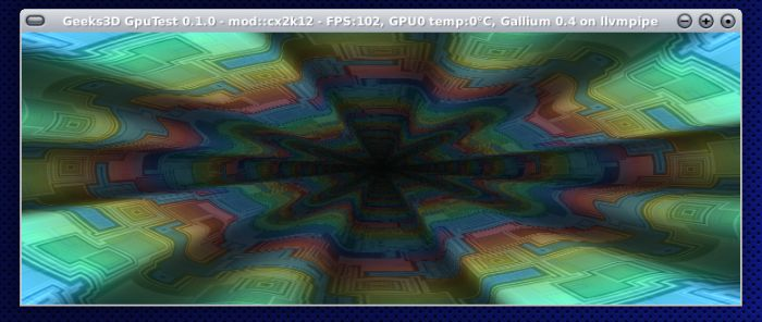 OpenGL test, Gallium3D llvmpipe software renderer