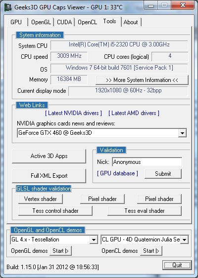 GPU Caps Viewer 1.15.0, GLSL shader validation utility