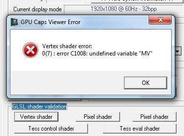 GPU Caps Viewer 1.15.0, GLSL shader validation utility