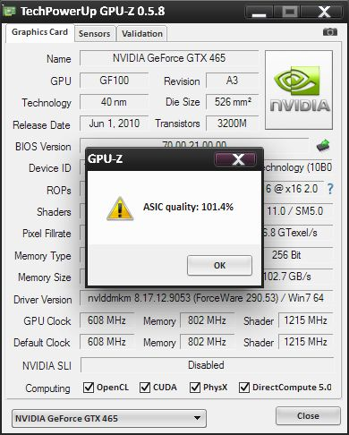 GPU-Z, ASIC quality, GeForce GTX 465
