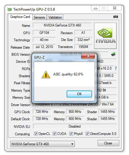 GPU-Z 0.5.8, ASIC quality of a MSI GTX 460