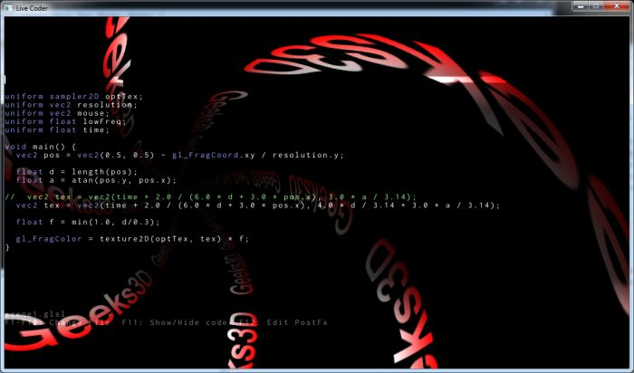 Live Coder: GLSL live programming tool