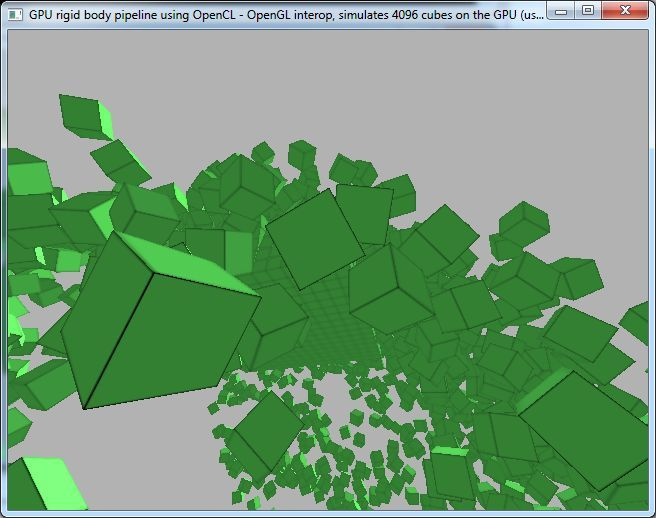 OpenCL Rigid Body Simulation Test
