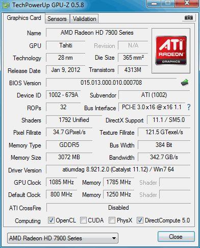 Radeon HD 7950, GPU-Z