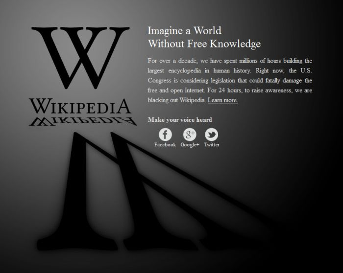 SOPA - Blackout day at wikipedia