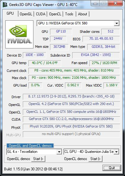 GPU Caps Viewer 1.15.0, R295.73 and GeForce GTX 580