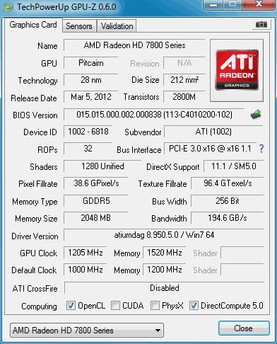 Radeon HD 7870, GPU-Z