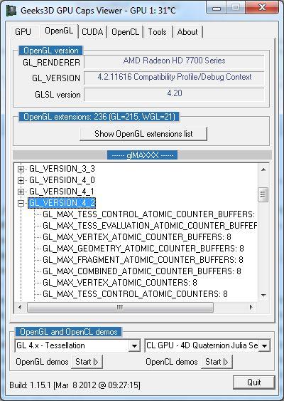 ASUS Radeon HD 7770 DirectCU, GPU Caps Viewer OpenGL details