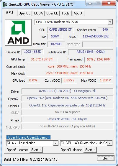 ASUS Radeon HD 7770 DirectCU, GPU Caps Viewer details