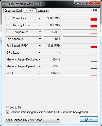 ASUS Radeon HD 7770 DirectCU, GPU-Z sensors