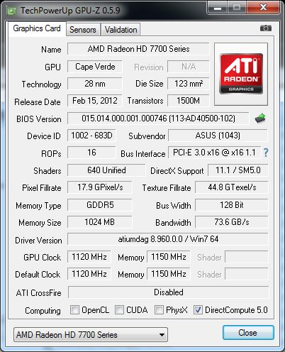 ASUS Radeon HD 7770 DirectCU, GPU-Z details