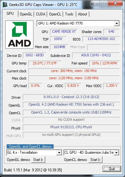 AMD Catalyst 12.3, GPU Caps Viewer + Radeon HD 7770