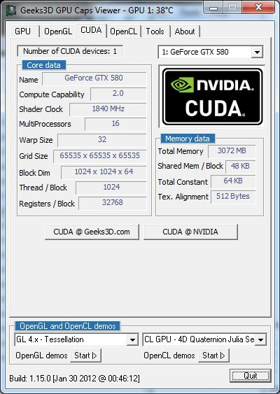 EVGA GTX 580 Classified ULtra, GPU Caps Viewer, CUDA