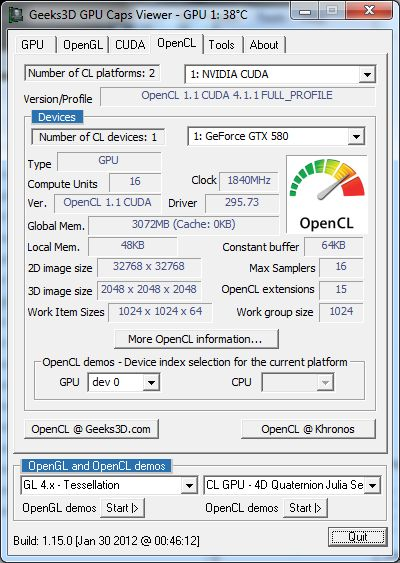 EVGA GTX 580 Classified ULtra, GPU Caps Viewer, OpenCL