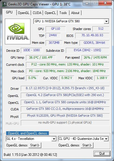 EVGA GTX 580 Classified ULtra, GPU Caps Viewer