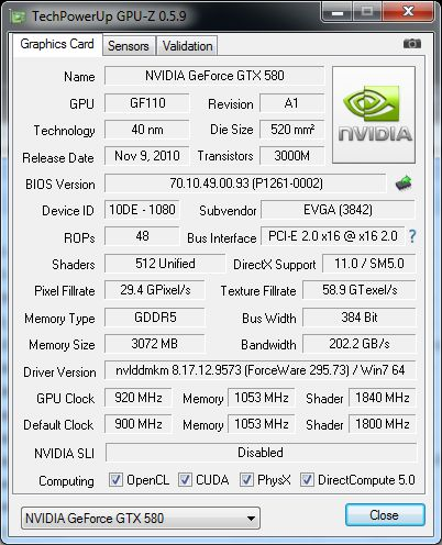 EVGA GTX 580 Classified ULtra, GPU-Z