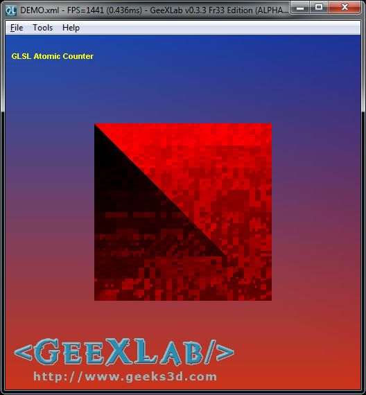 GeeXLab, Atomic Counter demo on Radeon HD 7770