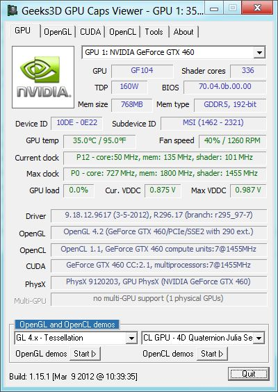 Windows 8, R296.17, GPU Caps Viewer