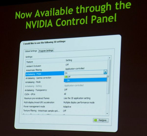 GeForce GTX 680, FXAA now in control panel