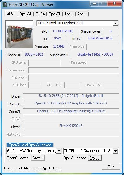 Intel HD Graphics driver, GPU Caps Viewer