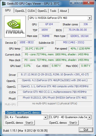 NVIDIA R296.10, GPU Caps Viewer 1.15.1 and GTX 460