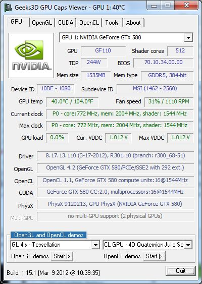 NVIDIA R301.10 for GTX 680, GPU Caps Viewer