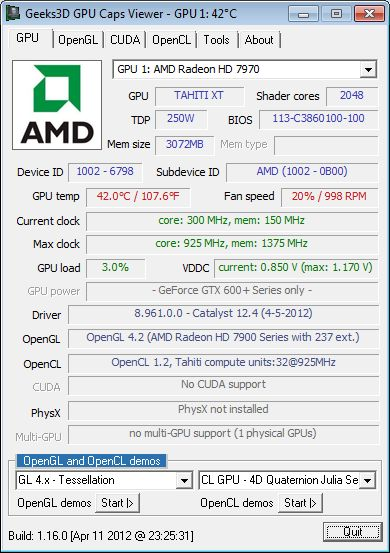 AMD Catalyst 12.4, GPU Caps Viewer + MSI Radeon HD 7970