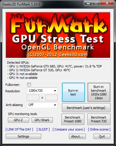 FurMark 1.10.0 main interface