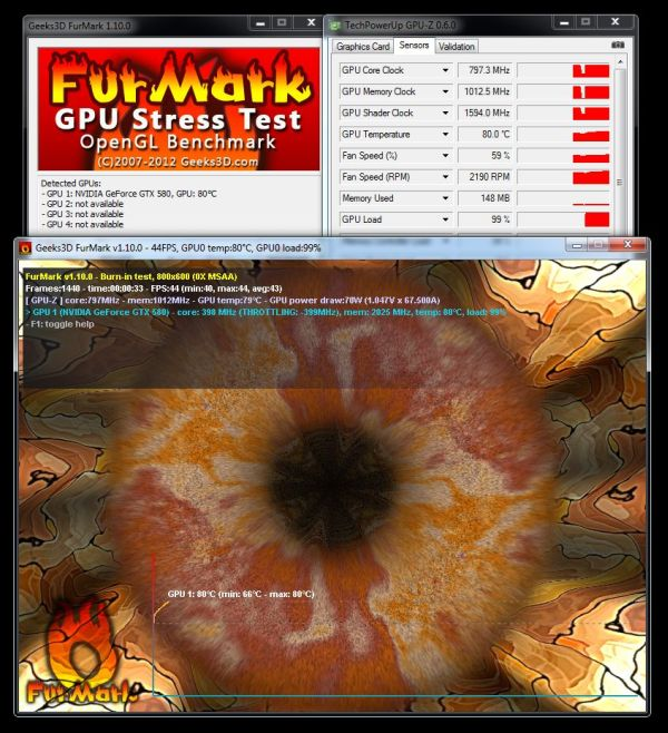 FurMark 1.10.0 + GPU-Z + GeForce GTX 580, GPU is throttled down
