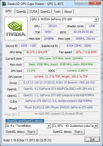 GPU Caps Viewer and the GeForce GTX 680