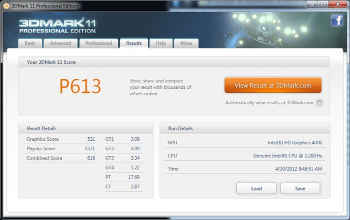 Intel Ivy Bridge HD 4000 - 3DMark11 Performance score
