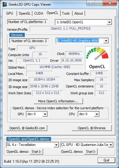 GPU Caps Viewer, OpenCL API support for Intel Ivy Bridge