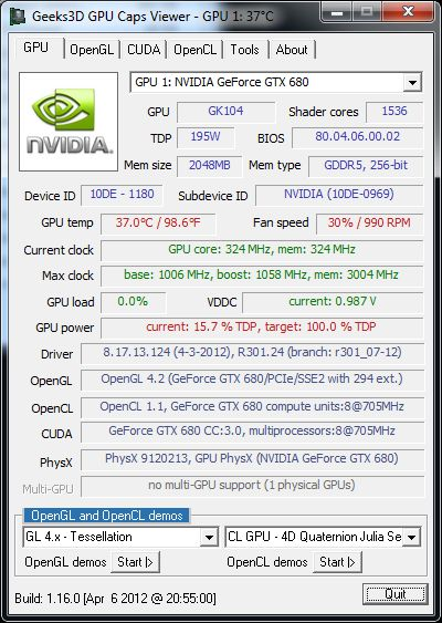R301.24 + GeForce GTX 680 + GPU Caps Viewer 1.16.0