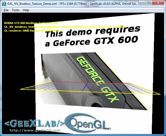 NVIDIA Bindless texture demo on Radeon card, GeeXLab