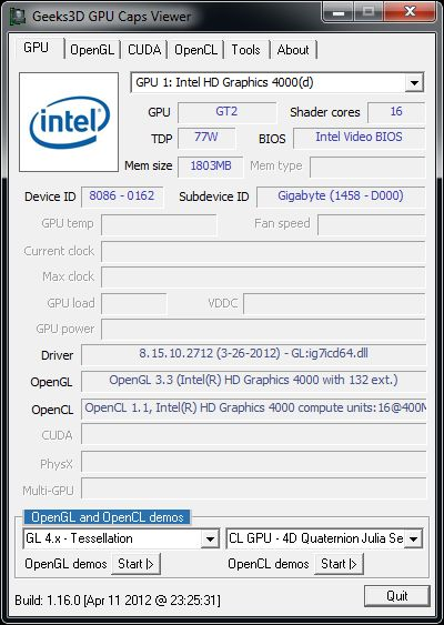 Intel HD Graphics driver v2712 - GPU Caps Viewer, Ivy Bridge