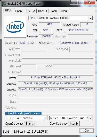 Intel HD Graphics 4000, GPU Caps Viewer