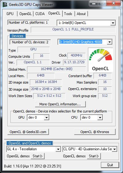 Intel HD Graphics 4000, GPU Caps Viewer, OpenCL
