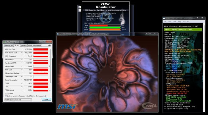 ASUS GeForce GTX 680 DirectCU II TOP, MSI Kombsutor Burn-in test