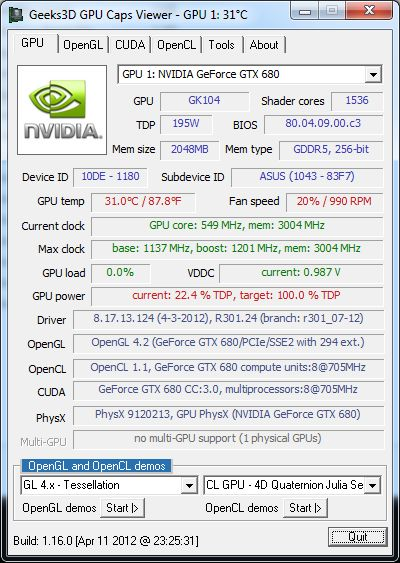 ASUS GeForce GTX 680 DirectCU II TOP, GPU Caps Viewer
