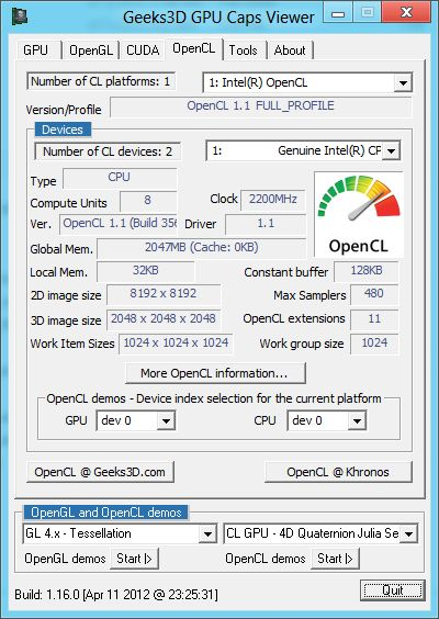 Intel HD Graphics 4000 GPU, GPU Caps Viewer, OpenCL