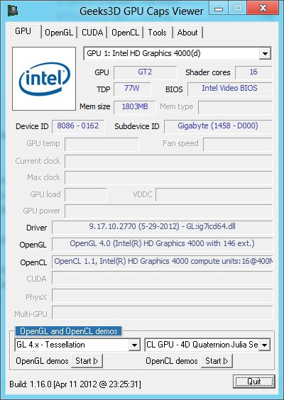 Intel HD Graphics 4000 GPU, GPU Caps Viewer