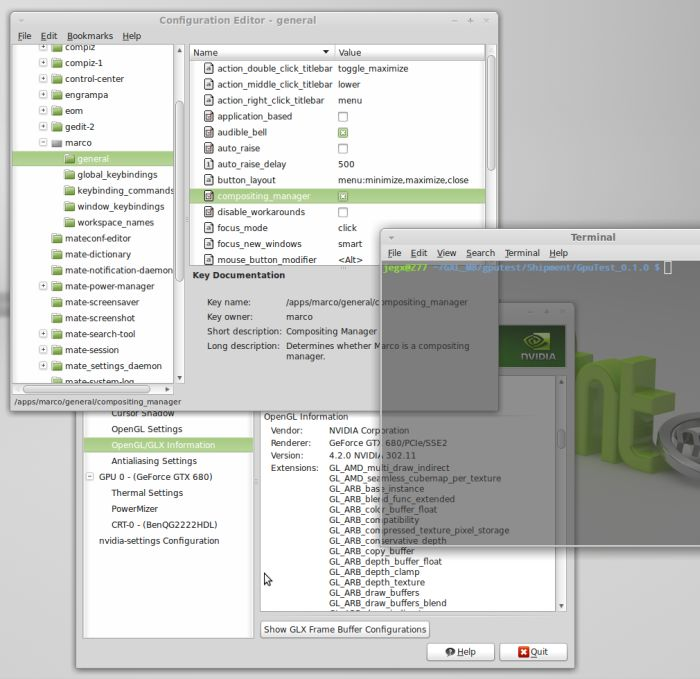 Linux mint 13, enabling marco compositing manager