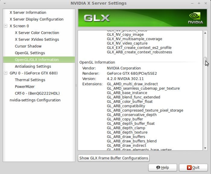 Linux mint 13, nvidia settings, R302.11, GeForce GTX 680