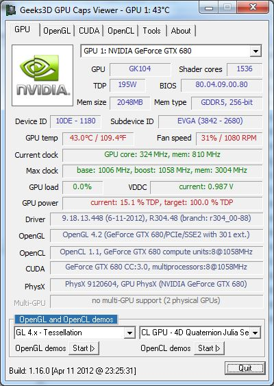 NVIDIA graphics drivers R304.48, GPU Caps Viewer