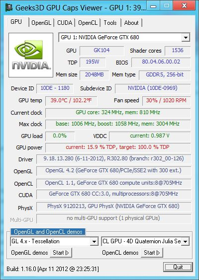 NVIDIA R302.80 for Win8, GTX 680, GPU Caps Viewer
