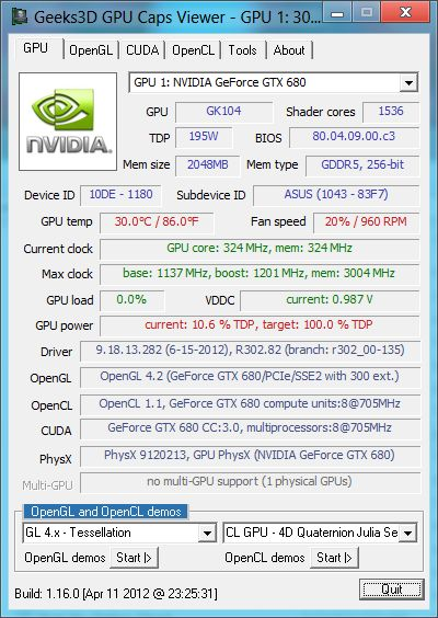 R302.82 + GPU Caps Viewer + GTX 680
