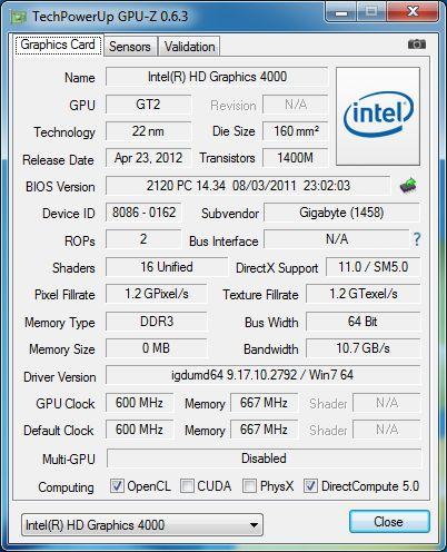 GPU-Z 0.6.3, Intel HD 4000