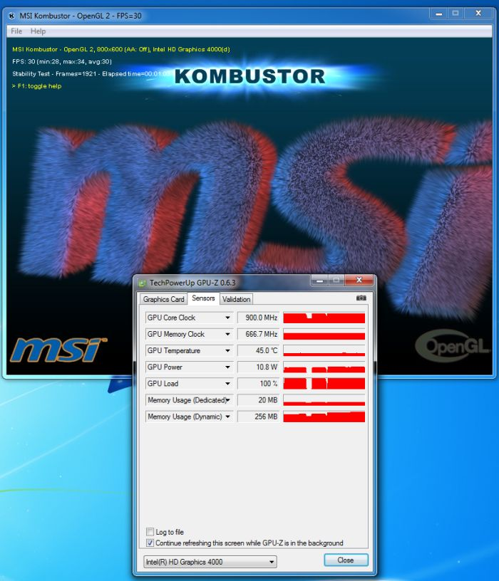 GPU-Z 0.6.3, Intel HD 4000, MSI Kombustor