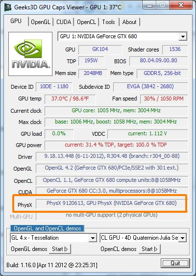 NVIDIA PhysX version in GPU Caps Viewer